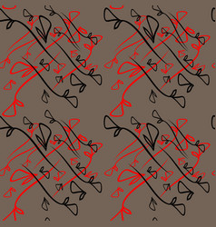 pattern from plant black and red elements on a vector image