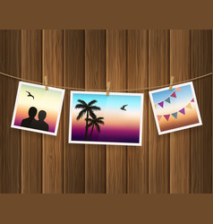 Photo frames fixed on rope with clothespins vector