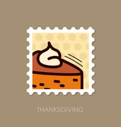Piece of pumpkin pie stamp thanksgiving vector