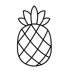 Pineapple line icon tropical fruit vector