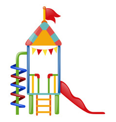 Playhouse with slide and steps vector