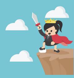 Queen of business on top of mount vector