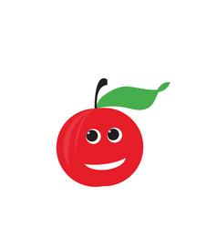 red apple fruit happy apple vector image