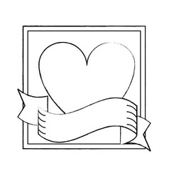 romantic frame with heart and ribbon banner sketch vector image