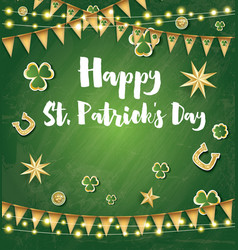 saint patricks day background with golden flags vector image