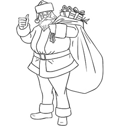 Santa Claus With Bag Of Presents For Christmas vector