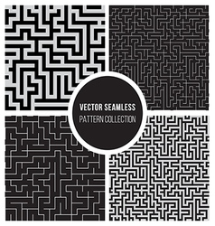 Seamless BW Maze Pattern Collection vector image