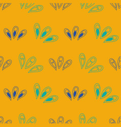 Seamless pattern ginko wax with blue vector