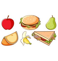 Set fast food and healthy fruits on white vector