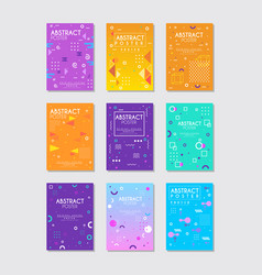 set of 9 posters with different geometric vector image