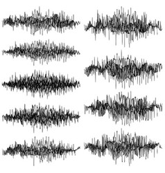 set of abstract monochrome sound waves oscillating vector image