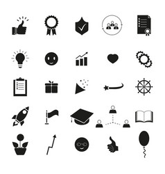 Set of bring up the best result icons success vector