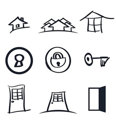 Set of nine realestate logos vector