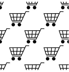 shopping cart seamless pattern isolated on white vector image