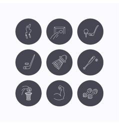 Skipping rope football and golf icons vector image
