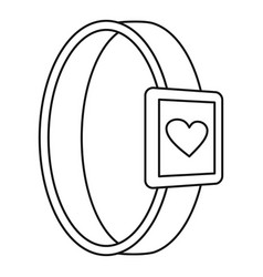 Smartwatch heart monitor icon outline style vector