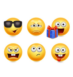 Smiley face icons funny faces 3d collection 4 vector