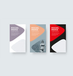 Social media stories template with colorful vector