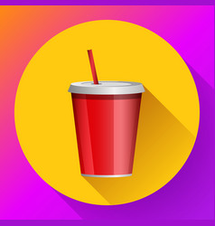 soda red plastic beaker with a tube for take-away vector image