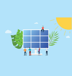 Solar panel energy electric with team people on vector