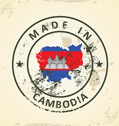 Stamp with map flag of Cambodia vector