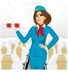 stewardess holding a tray with two cup of tea vector image