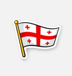 sticker flag georgia on flagstaff vector image