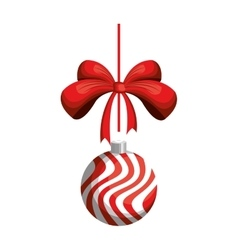 Striped christmas ball decoration vector