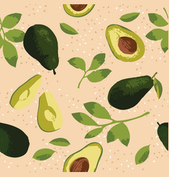 Summer pattern with avocado flowers and leaves vector