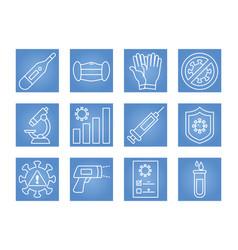 thermometer and covid19 test icon set line style vector image