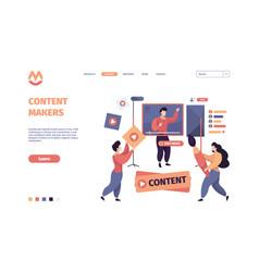 video blogging content makers online web vector image