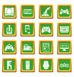 Video game icons set green vector