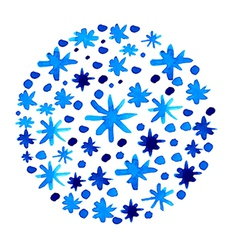 Watercolor beautiful blue snowflakes background vector image