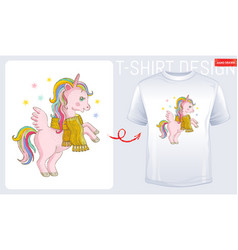 winter unicorn t-shirt print design cute cartoon vector image