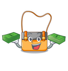 with money menesseger bag color on a cartoon vector image