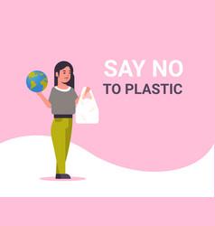 woman holding planet and polythene bag say no vector image
