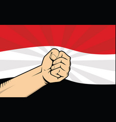 Yemen fight protest symbol with strong hand and vector