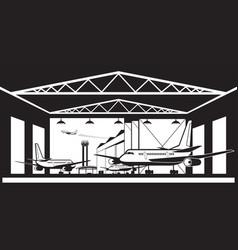 aircraft hangar at airport vector image vector image