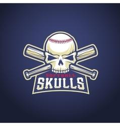 Baseball Team Logo Template Skull and Crossed vector image