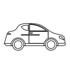 car sedan vehicle transport outline vector image