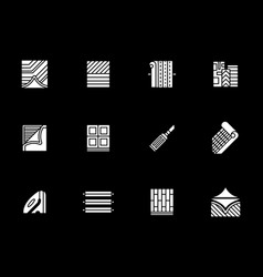 construction materials white glyph icons vector image vector image
