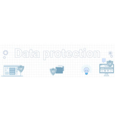 data protection word on squared background vector image