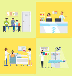 reception and patients on vector image
