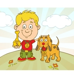 Character Boy With Dog won on Pet Show vector image vector image
