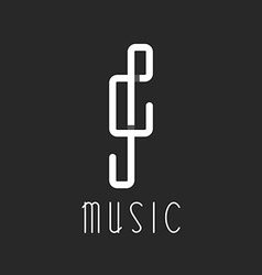 Music key logo overlapping lines black and white vector image