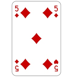 Poker playing card 5 diamond vector image