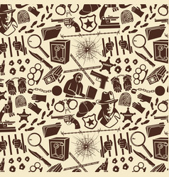 background pattern with detective icons vector image vector image