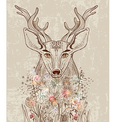 Cartoon background with deer and flowers vector image