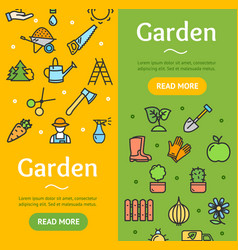 gardening banner vecrtical set vector image vector image