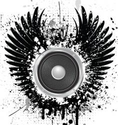 grunge sound wings vector image vector image